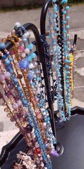 Collane lunghe fatte a mano con uncinetto e cristalli stile boohoo chic