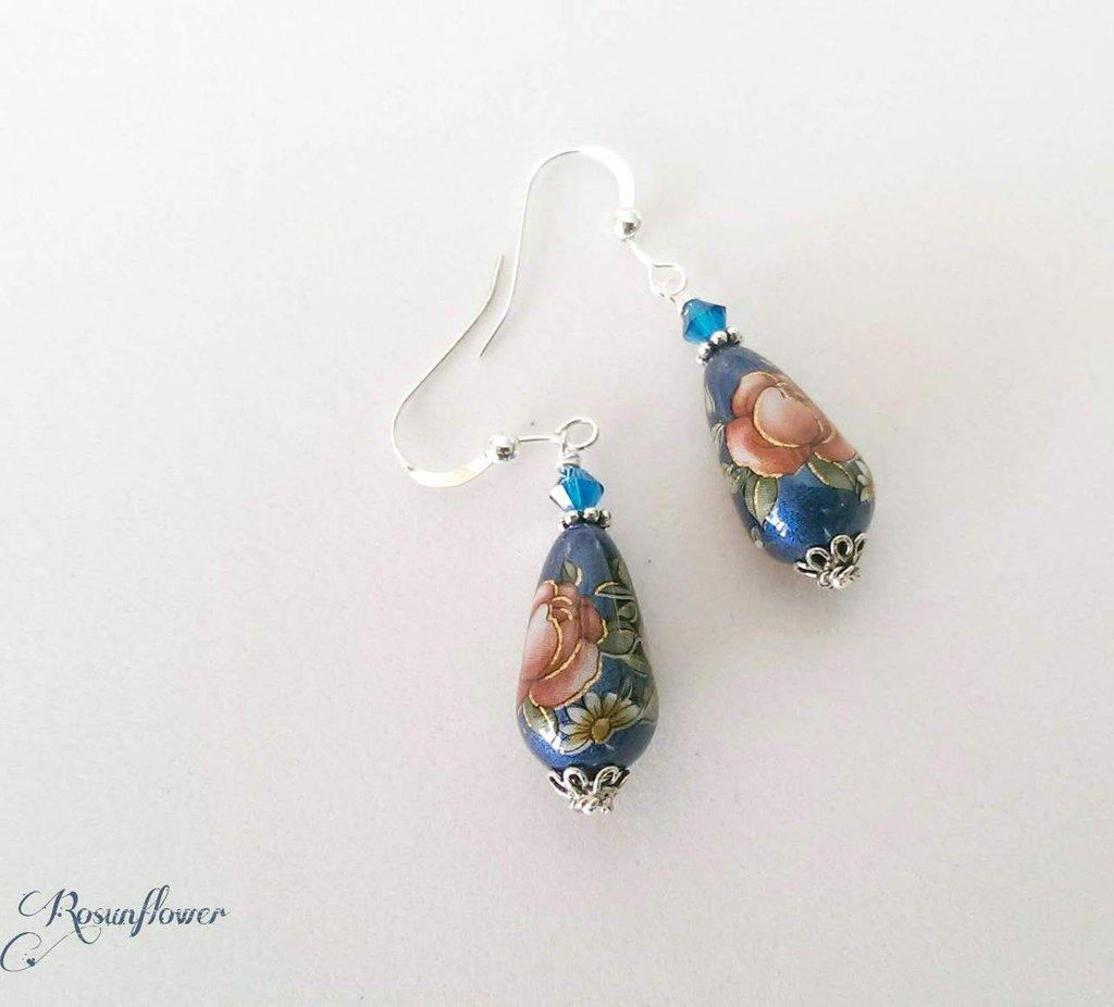 Orecchini pendenti blu con perle giapponesi, orecchini argento 925,  regalo per lei