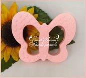 Massaggia gengive in silicone alimentare  certificato * Farfalla rosa*