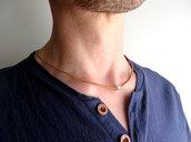 Collana uomo girocollo in cordino di cuoio naturale con perla in metallo sfaccettata, stile minimal semplice zen