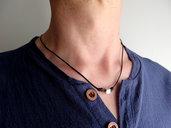 Collana uomo girocollo in cordino di cuoio nero con perla cubo in acciaio, stile minimal semplice zen