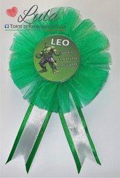 Coccarda con spilla fratello sorella torta di pannolini regalo party fine festa compleanno personalizzata Hulk gadget