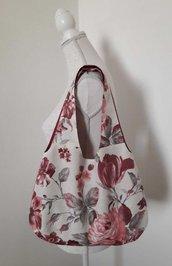 Borsa donna a spalla in tessuto floreale bordeaux panna rosa con tulipani e rose