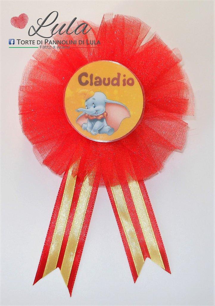 Coccarda con spilla fratello sorella torta di pannolini regalo party fine festa compleanno personalizzata Dumbo