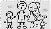 Famiglia ricamata a punto croce