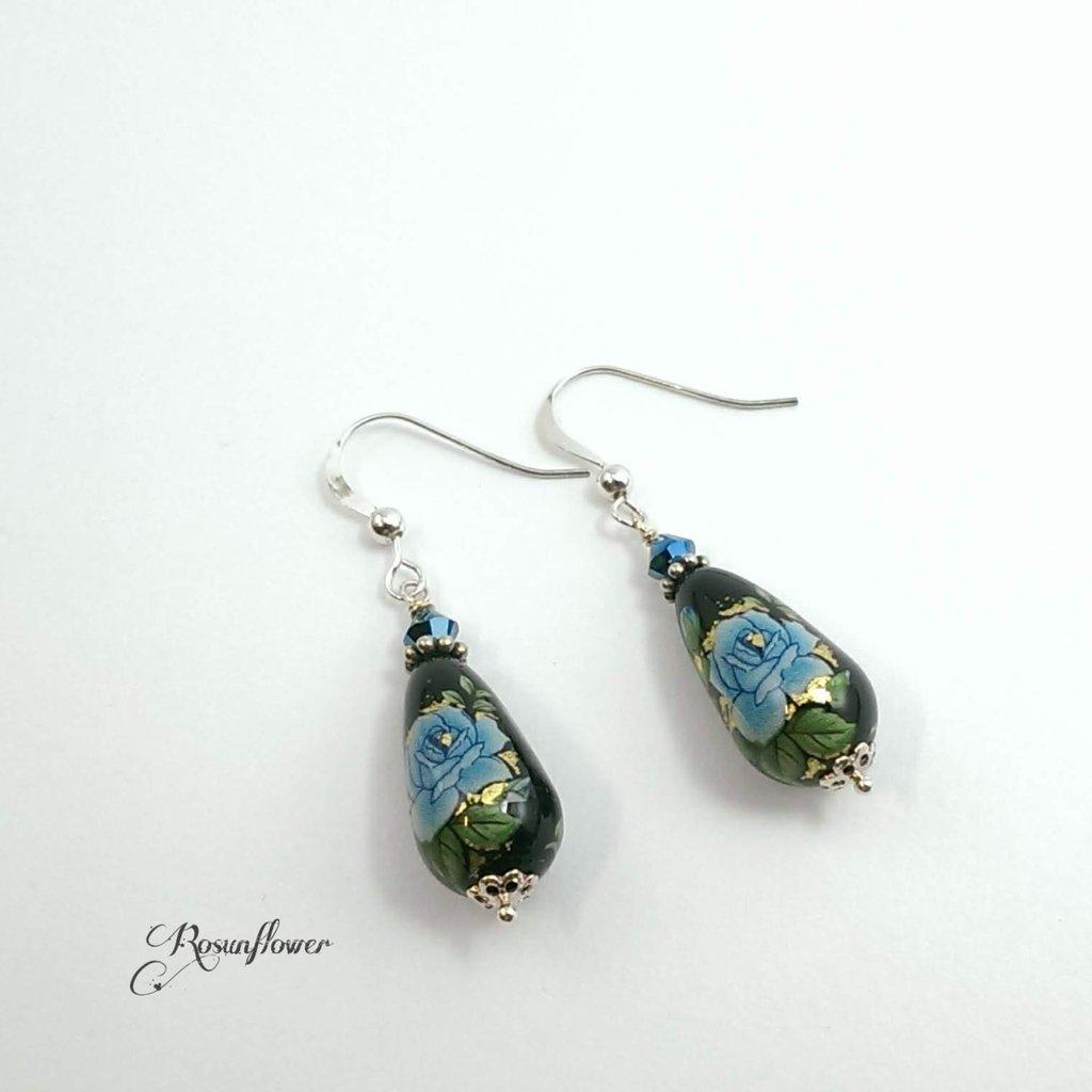 Orecchini con perle tensha giapponesi, orecchini a goccia argento 925, regalo donne