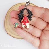 Collana in acciaio inox con bambolina hawaiana fatta a mano in fimo