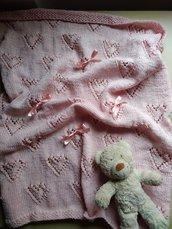 Copertina neonato in cotone ai ferri per carrozzina culla estate, regalo nascita, copertina fatta a mano bianco bianca