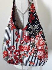 Borsa donna a spalla in tessuto floreale con righe e pois nero bianco e rosso