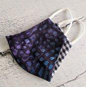 Mascherina in cotone con elastico (tasca per inserire il filtro) blue e viola