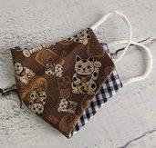 Mascherina in cotone con elastico (tasca per inserire il filtro) gatti Neko