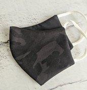 Mascherina in cotone con elastico (tasca per inserire il filtro) militare nera