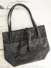 Shopper in cotone nero militare