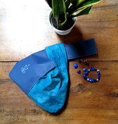 Pochette ecopelle cotone giapponese azzurro da giorno e sera
