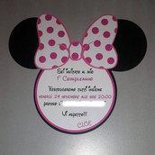 """Invito compleanno """"Minnie"""" sagomato"""