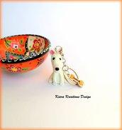 Portachiavi cane bull terrier personalizzato con nome su un charm a forma di osso, idea regalo per amanti dei bull terrier