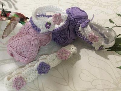 Fascetta e scarpette  infradito cotone  crochet neonato bebè
