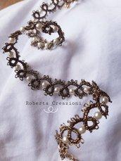 Collana chiacchierino bronzo e perline