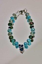 Bracciale cristalli cuore verde