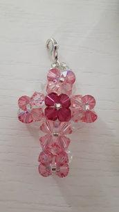 Ciondolo croce swarovski rosa e boreali