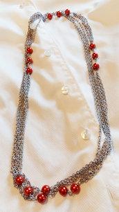 Collana acciaio e perline di plastica rosso mattone
