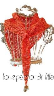 Scialletto, mini foulard a uncinetto in cotone arancione con pendente, moda donna estate,scialle