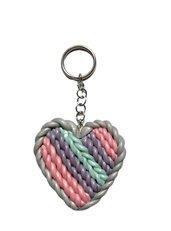 Portachiavi cuore effetto maglia