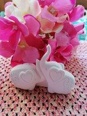 Coppia elefantini - elefante  innamorati in gesso ceramico profumato in 3d per il fai da te