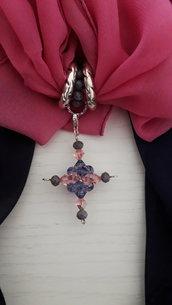 Foulard gioiello croce rosa e viola