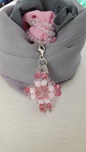 Foulard gioiello croce rosa