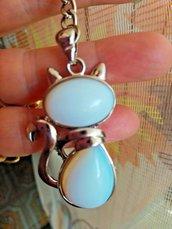 Portachiavi con ciondolo gatto con vere adularie pietre di luna naturali chakra cristalloterapia