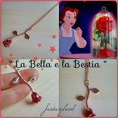 Collana con rosa di LA BELLA E LA BESTIA regalo film