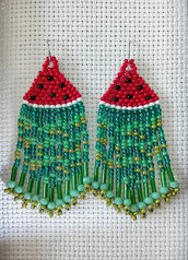 Orecchini frangia lunghi pendenti con perline rosse e verdi - cocomero