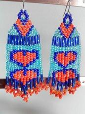 Orecchini frangia lunghi pendenti con perline azzurre e arancioni - cuore