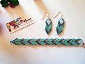 Bracciale e orecchini creati con perline Miyuki