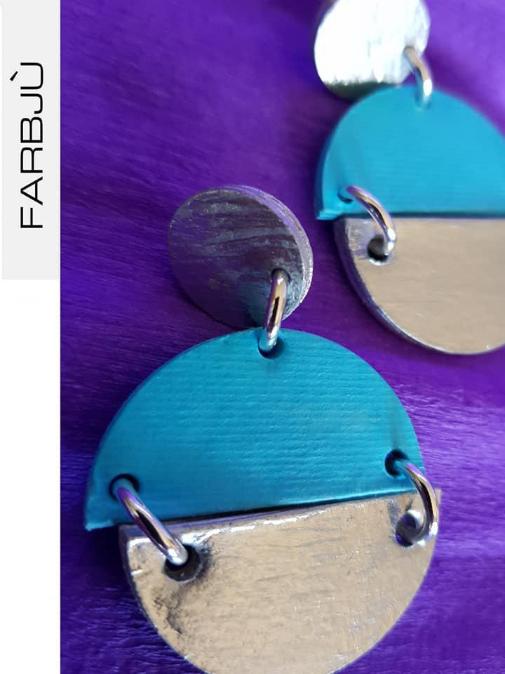 Orecchini pendenti rotondi in cartoncino colore  turchese e argento