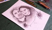 Ritratto di coppia, ritratto per anniversario, ritratto a matita