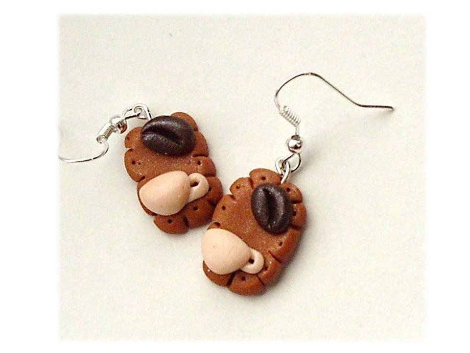orecchini- biscotti tazza e chicchi di caffè