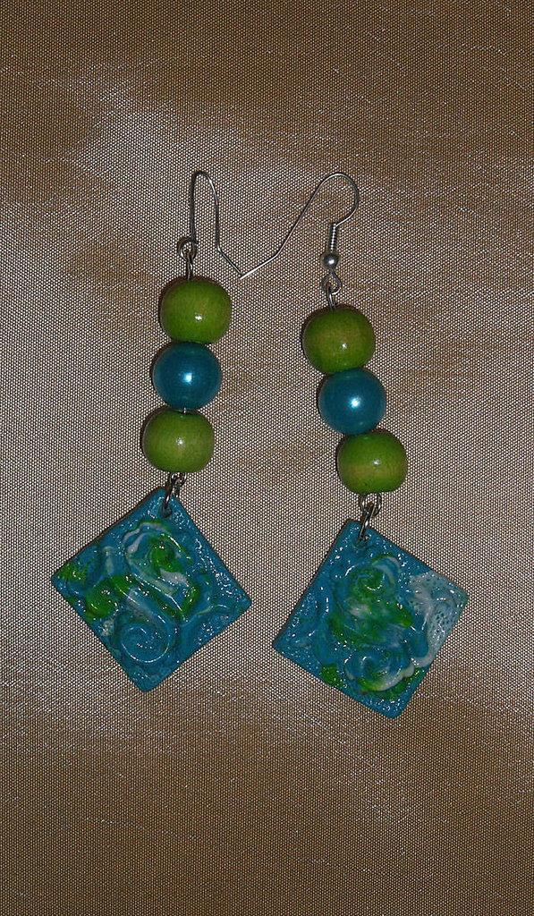 Orecchini in Perle e Fimo Azzurro e Verde