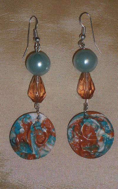Orecchini in Fimo e Perline Azzurro, Bianco e Arancio