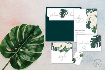 PARTECIPAZIONE MATRIMONIO SELMA - verde - orchidee - monstera - elegante - greenery