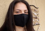 Mascherina nera idrorepellente e traspirante
