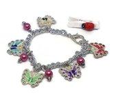 Bracciale catena con ciondoli colorati  e perle