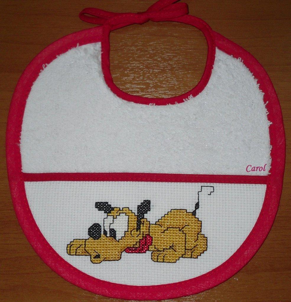 """Bavaglino """"Baby Pluto 2"""" -punto croce-"""