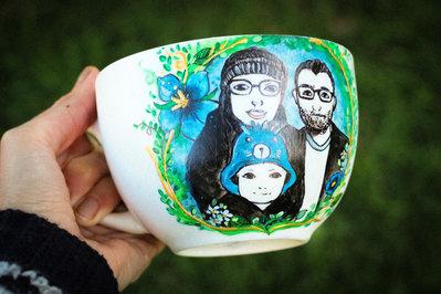 MUG dipinta a mano, mug personalizzata, mug con famiglia, mug per amica, regalo di compleanno, mug anniversario, ritratto cartoon, ritratto di coppia
