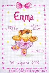 Quadretto nascita - fiocco nascita - FIZZY MOON BALLERINA BIMBA -punto croce- B135