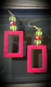 Orecchini pendenti in resina e perle rosse e gialle - Rettangolo Rosso
