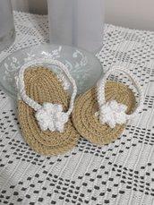 Infradito neonato uncinetto 100%cotone