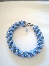 Bracciale con bicono tubolare azzurro