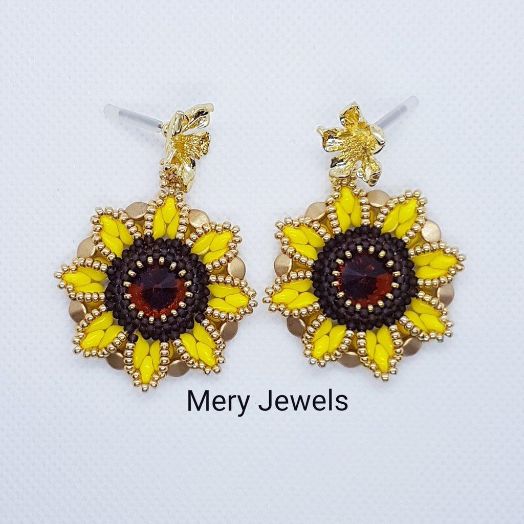 Orecchini Girasoli,  Sunflower earrings